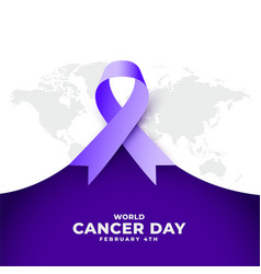 World cancer day purple ribbon concept event vector