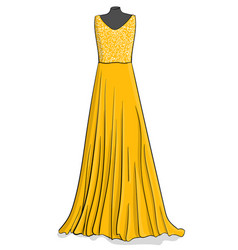 Yellow long dress with white lace on the corse vector