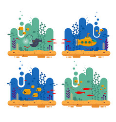 Yellow submarine with periscope underwater concept vector
