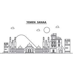 Yemen sanaa architecture line skyline vector