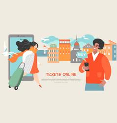 young people buy tickets online using smartphones vector image