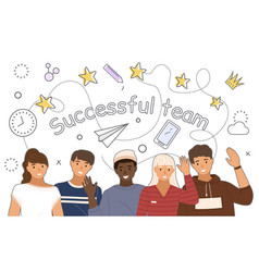 young people in casual clothes successful team vector image