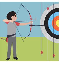 archery athletic sport cartoon set vector image vector image