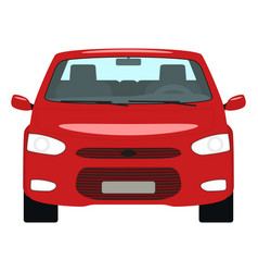 cartoon red car front view vector image vector image