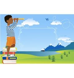 Children reading poster vector image