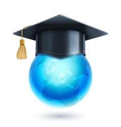 Graduation Cap and World Globe Icon vector image vector image