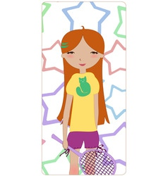 cute little girl vector image vector image