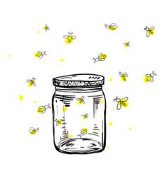 fireflies flying around the jar vector image