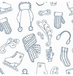 Hand drawn winter accessories outline seamless vector image