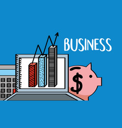 laptop chart bar calculator and piggy business vector image