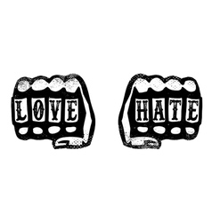 love and hate hand fists with brass knuckles vector image vector image