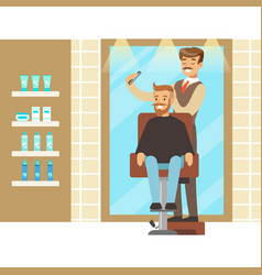 male hairdresser brushing hair of bearded man vector image