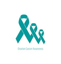 Ovarian Cancer Teal Ribbons flat design vector image vector image