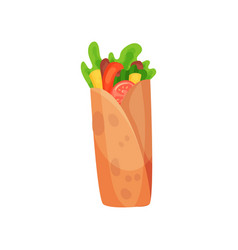 shawarma with meat and fresh vegetables vector image