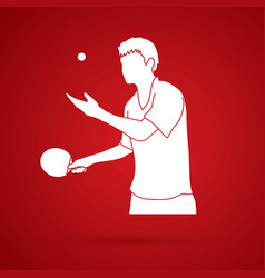 Table tennis player ping pong man graphic vector