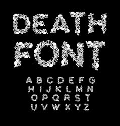 death font bones abc skeleton alphabet letters vector image