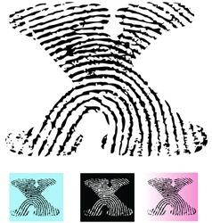 Fingerprint Alphabet Letter X vector image vector image