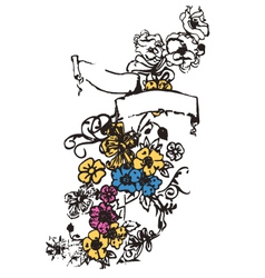 floral emblem with decorative ribbon vector image