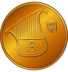 Gold Israeli money half-shekel coin vector image vector image