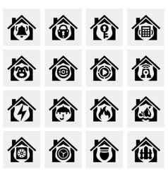 Home security icon set vector image vector image