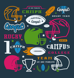 icons set of campus rugby team vector image vector image