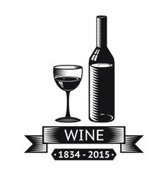 Wine alcohol drink logo symbol bottle glass vector
