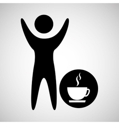 happy man with cup coffee icon vector image