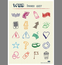 Internet and media icons set vector image vector image