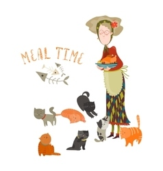 Old woman with her cats vector image vector image