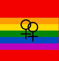 rainbow flag movement lgbt women symbol flat vector image vector image