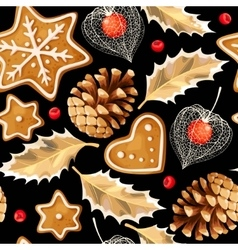 Seamless gingerbread and holly vector image vector image