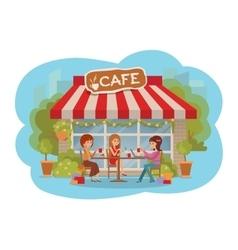 Three beautiful women talking at coffee shop vector image