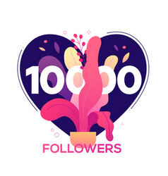 10 000 followers banner - modern flat design style vector image