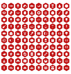 100 favorite food icons hexagon red vector image