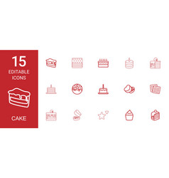 15 cake icons vector image