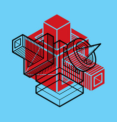3d engineering abstract shape made using cubes vector image