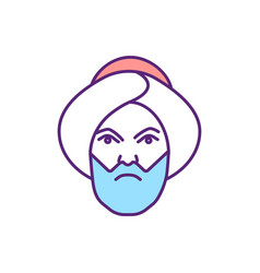 Angry muslim man rgb color icon vector