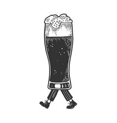 beer glass cup walks on its feet sketch vector image