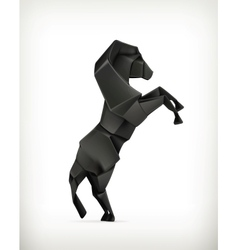 black paper horse origami vector image