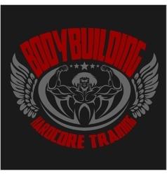 Bodybuilding emblem Isolated background vector