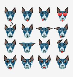 bullterrier dog emoji emoticon expression vector image