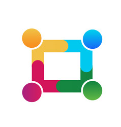 business teamwork people square shape icon vector image