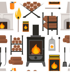 cartoon fireplace background pattern on a white vector image