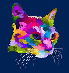 Cat head on geometric pop art style vector