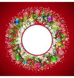 Christmas wreath with snow-covered branches of vector image