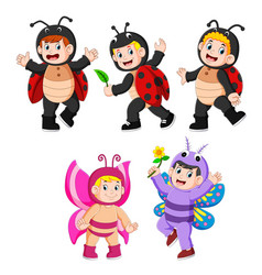 collection children wearing butterfly and ladybug vector image