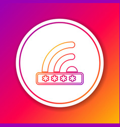 color wifi locked sign line icon isolated on color vector image