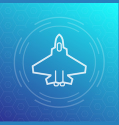 Combat aircraft fighter jet linear icon vector