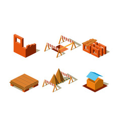 Construction buildings and wall structures vector