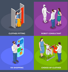 Consumers isometric concept icons set vector